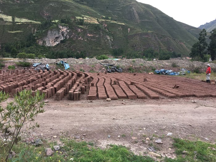 Adobe bricks layed out to dry
