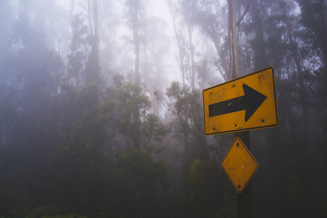 image of a foggy forest with a yellow caution sign pointing the way to safety