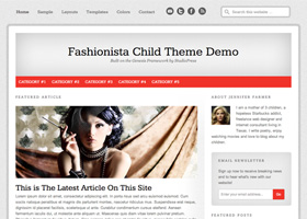 image of the fashionista theme for WordPress