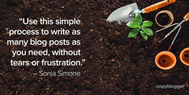 """""""Use this simple process to write as many blog posts as you need, without tears or frustration."""" – Sonia Simone"""