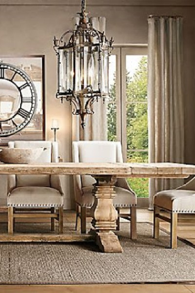 Daily Find Restoration Hardware Salvaged Wood Trestle Round Dining - Salvaged wood trestle round dining table