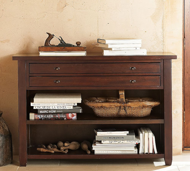 pottery barn map console table