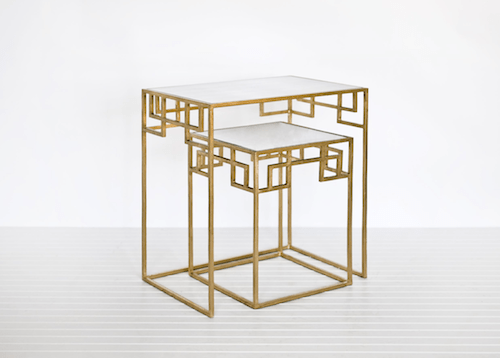Cute Worlds Away Nesting Tables in Gold Leaf