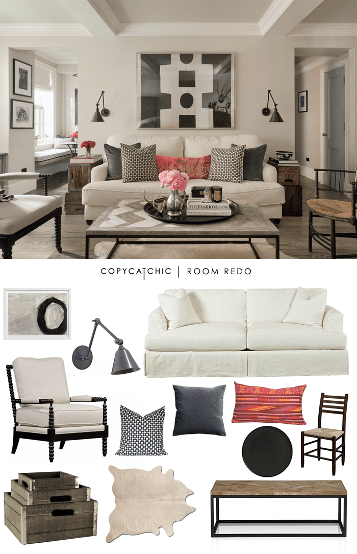 Copy Cat Chic Room Redo | Eclectic Chic Living Room