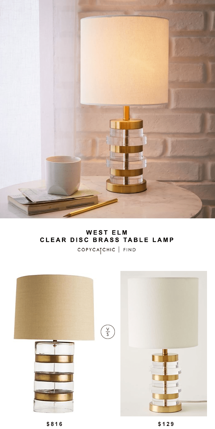 Best West Elm Clear Disc Brass Table Lamp