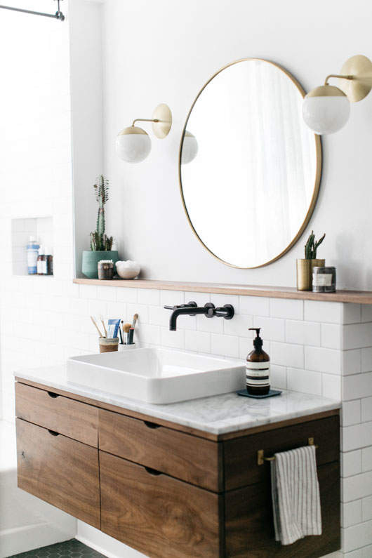 Good Copy Cat Chic Room Redo Modern Wood and Brass Bathroom