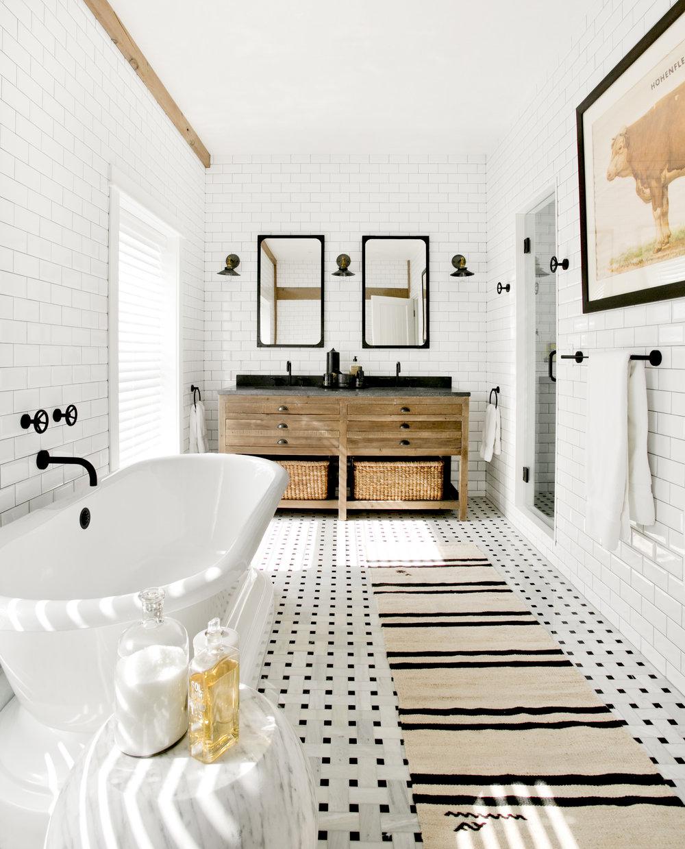Perfect Room Redo Warm Black and White Bathroom
