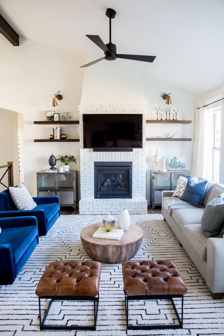 Room Redo Eclectic Textural Living Copy Cat Chic Red White And Blue.