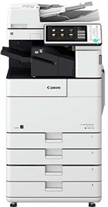 Canon imageRUNNER Advance 4545i (shown with sorter for extra costs) prints up to 45 ppm in black and white. 150-sheet Single Pass Document Feeder: Scan speed up to 160 ipm. 100-sheet Dual Document Feeder: Scan speed up to 35 ipm. Consistent images in rich black-and-white tones and 1200-dpi print resolution. ENERGY STAR® certified and rated EPEAT® Gold.