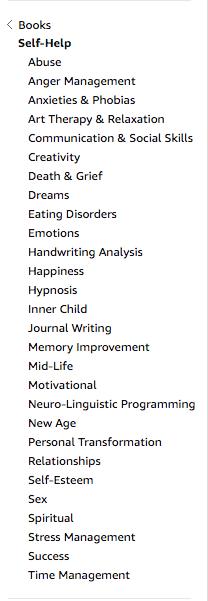 self help subcategories