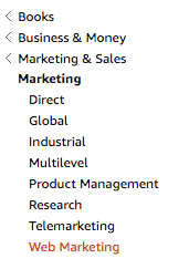 marketing subcategories