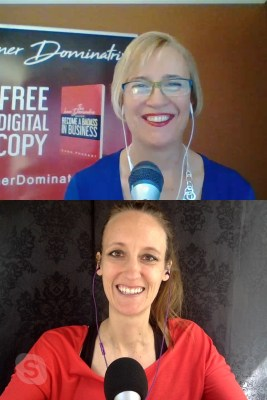 bestselling authors laura petersen and dana pharant recording the copy that pops podcast episode on copy tips and psychology hacks for business success
