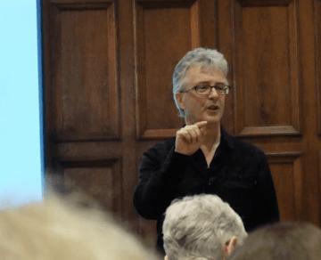 nick usborne speaking on stage - conversational copywriting