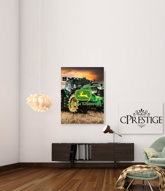 poster john deer tracteur vert