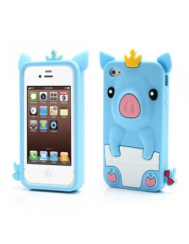 coque cochon pig couronne en silicone pour iphone 4 4s