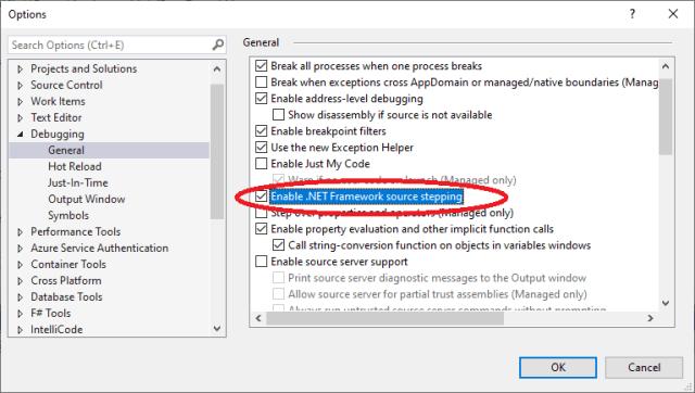 Enable .NET Framework source stepping
