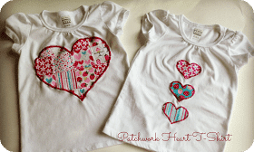 Valentines day t shirt tutorial diy patchwork heart applique