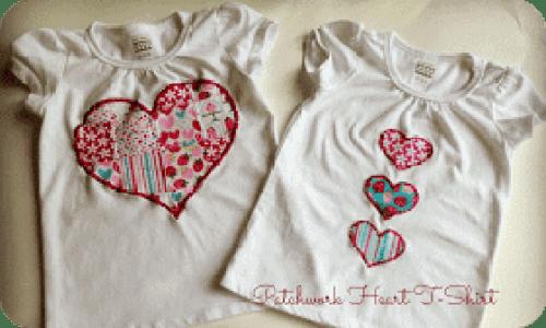 Valentines day t shirt tutorial diy patchwork heart applique