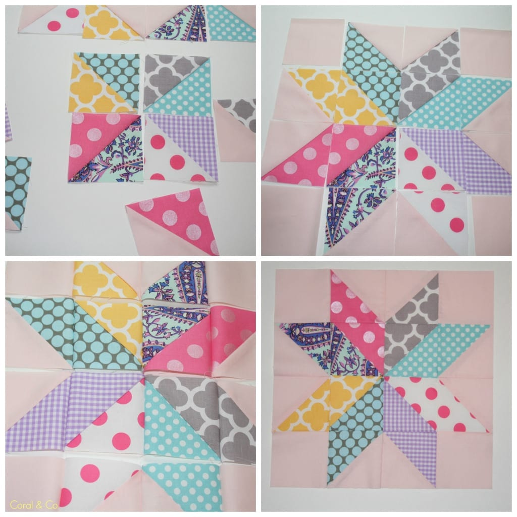 How to sew a starflower quilt block tutorial from Coral and Co. Easy DIY Quilt Block.