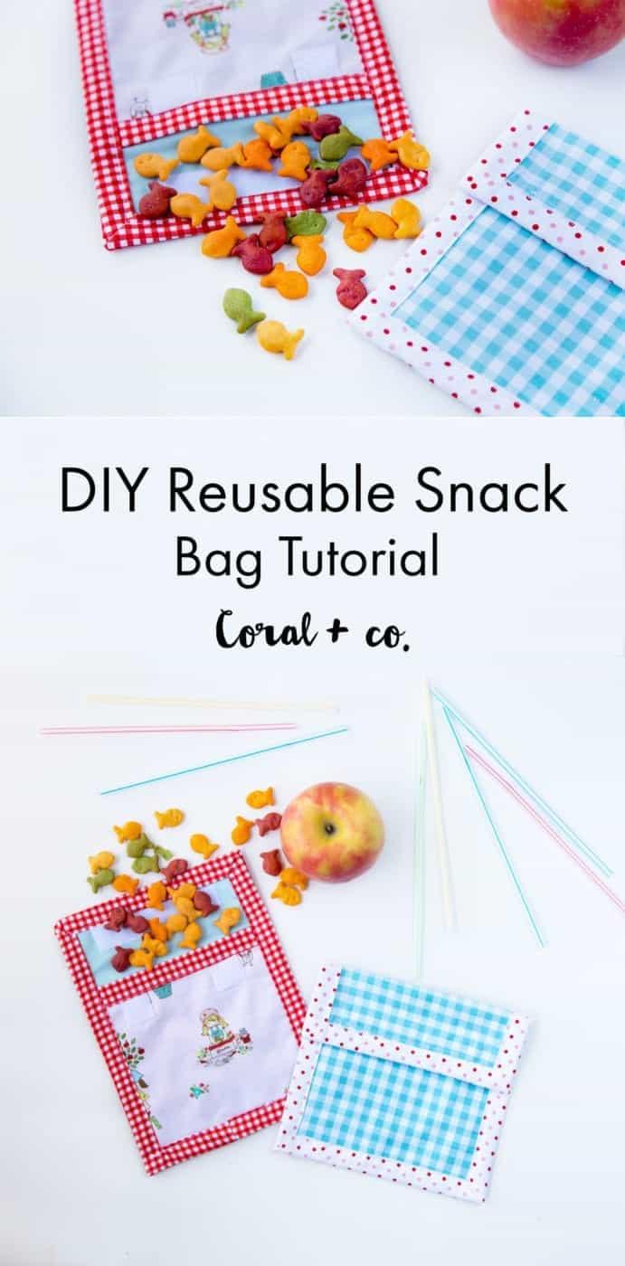Diy Reusable Snack Bag Tutorial Happy Earth Day Coral Co