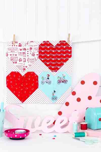 Valentines Day Mini Quilt Pattern with SVG Cut Files For Cricut Maker