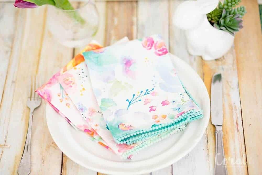 DIY Pom Pom Dinner Napkins with No Sew Mitered Corners - Coral + Co.