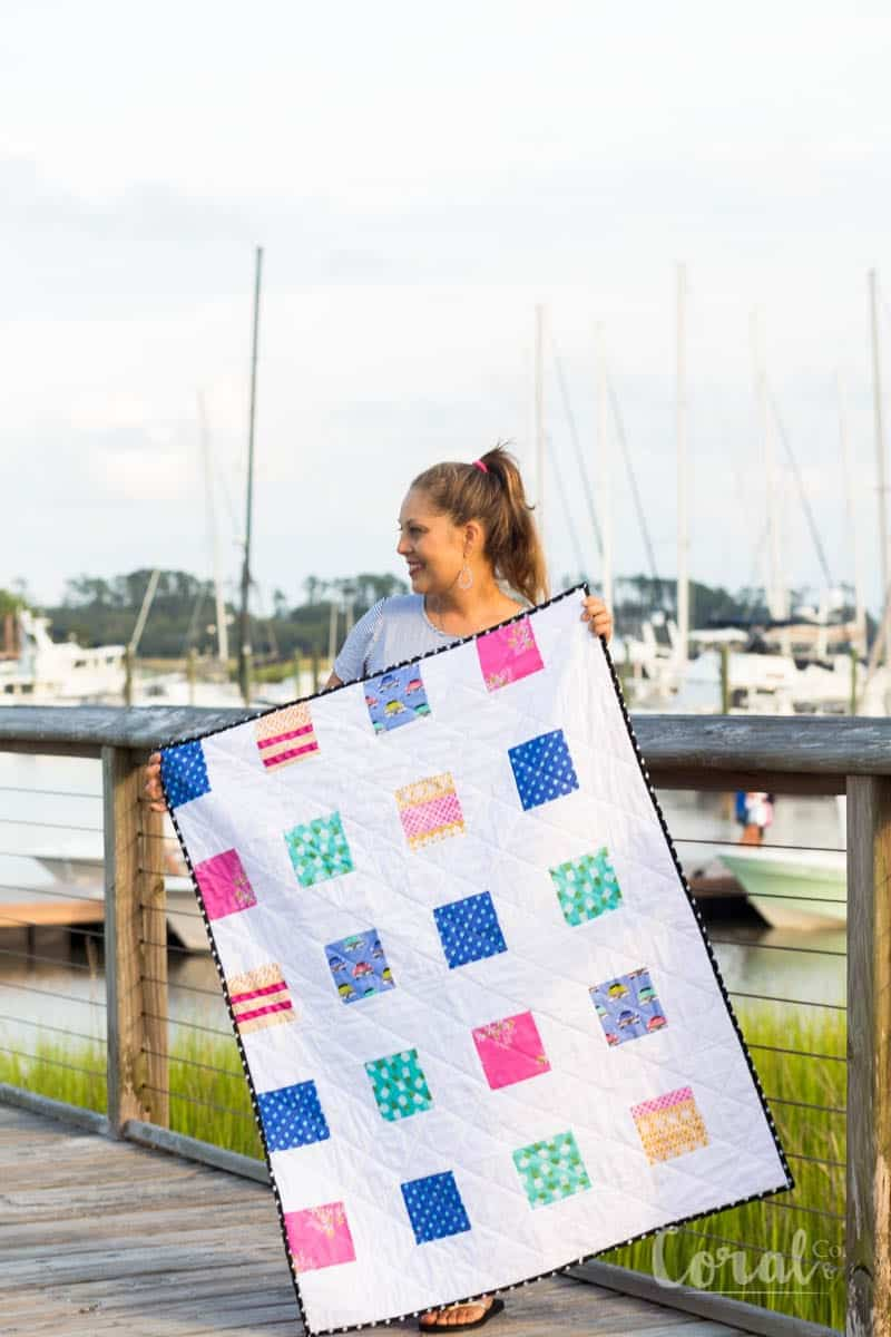 Simple Charm Pack Baby Quilt Pattern Free Four Square
