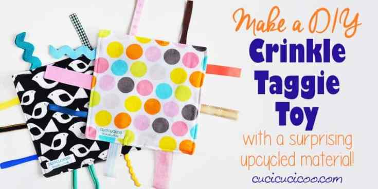 How to make a crinkle taggie baby toy with recycling