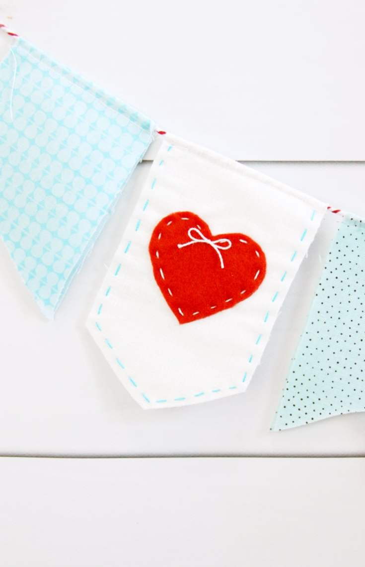 Sweet Heart Stitched Valentine's Banner |