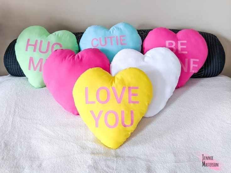 How to Make a Heart Pillow With a Free Pattern and Conversation Heart SVGs