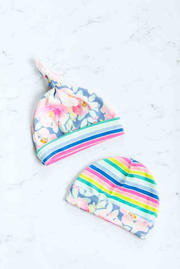 rainbow-stripe-and-floral-baby-hats