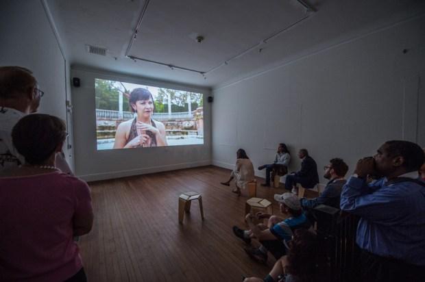 Lost Spaces Art Show at Vizcaya Museum participating artist Magnus Sigurdarson screens his telenovela installation.