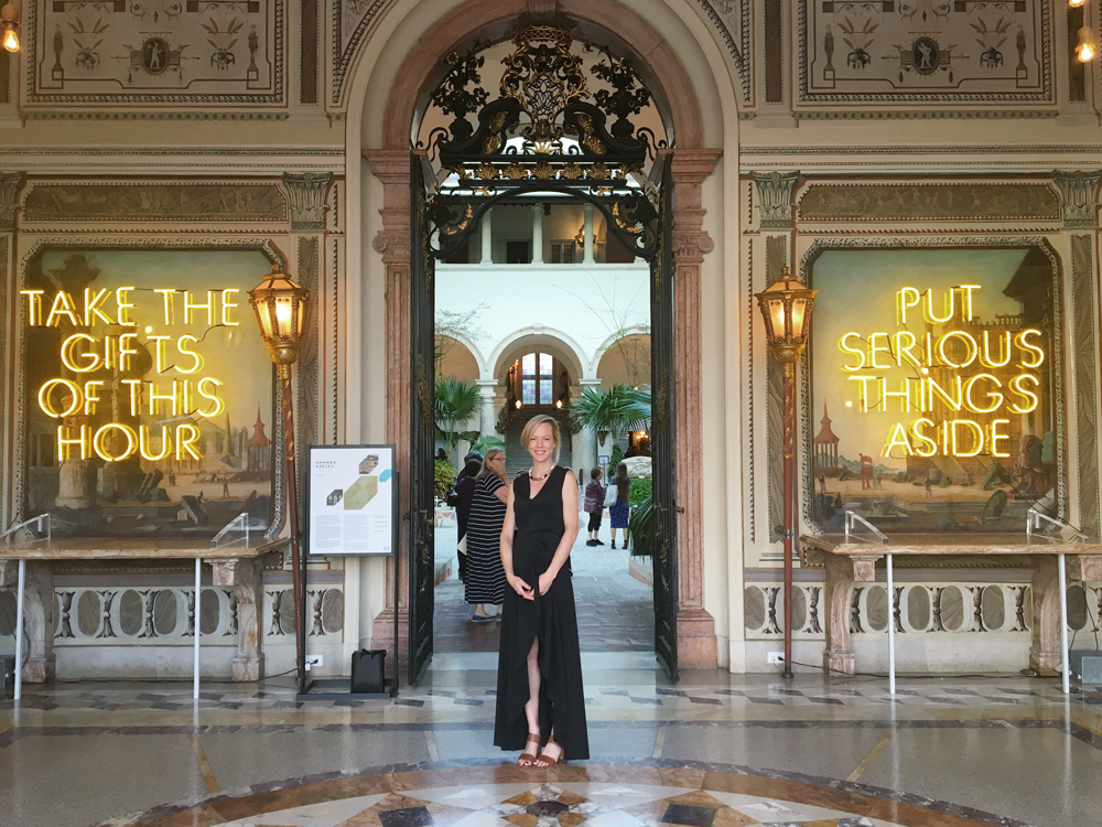 "Vizcaya Museum Lost Spaces Art Show. Neon Sign installation by artist Amanda Keeley. ""Savor the gifts of this hour. Put serious things aside."""