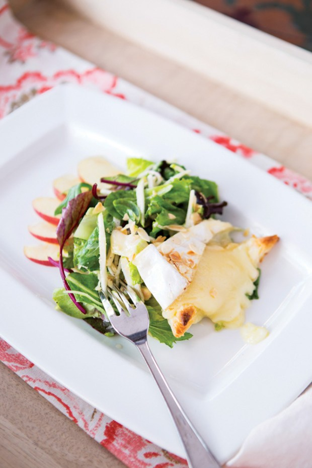 Chef Cindy Hutson Oven Baked Brie Salad at her restaurant Ortanique in Coral Gables, Florida