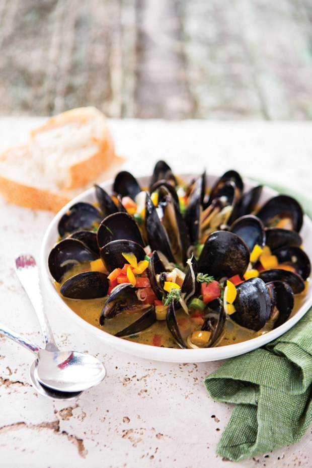 Chef Cindy Hutson Red Stripe Mediterranean Mussels at her restaurant Ortanique in Coral Gables, Florida