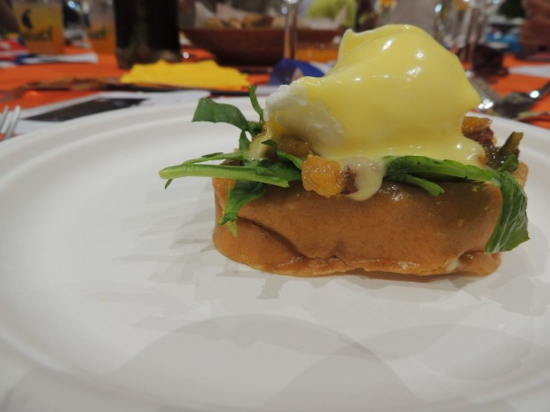 Eggs Benedict with Spicy Mango & Jam Toast
