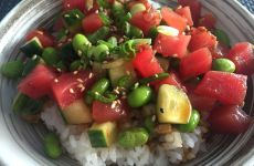 Ahi Poke Bowl with edamame, sunflower seeds, and Hawaiian soy dressing from Sushi Maki in Coral Gables! Click to read more or Pin and save for later.