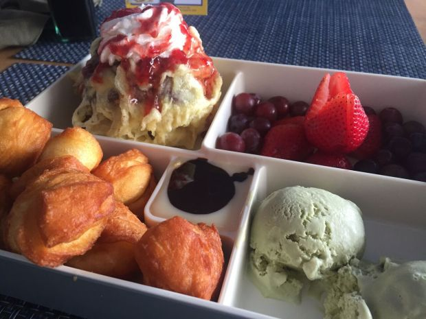 Dessert Bento, with thai donuts, green tea icing, red velvet cake and ice cream tempura, and fruit from Sushi Maki in Coral Gables! Click to read more or Pin and save for later.