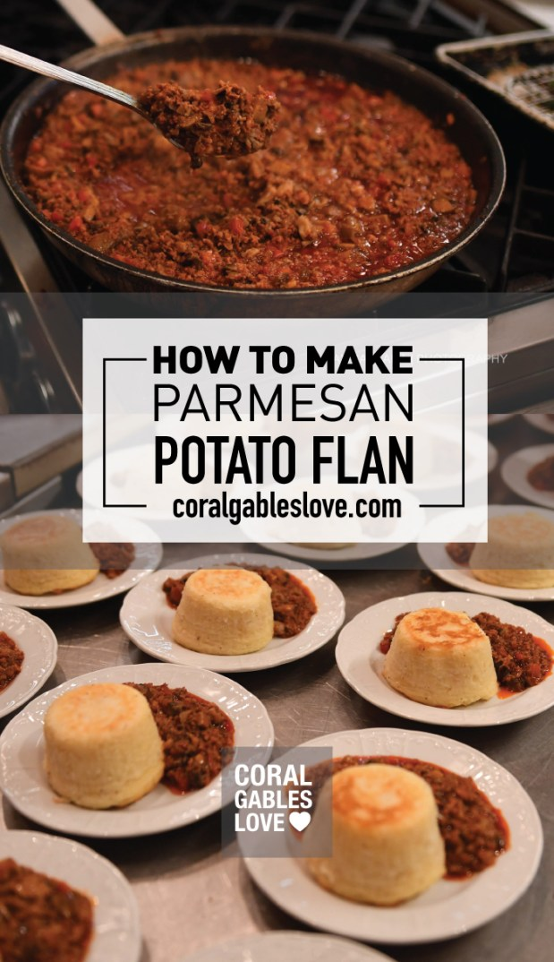 Savory Parmesan Potato Flan Recipe from The Biltmore Hotel's executive chef Dave Hackett in Coral Gables, Florida. Click to read more or pin and save for later!