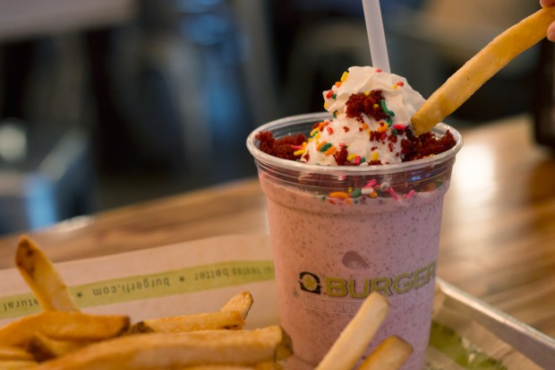 Burger Fi Coral Gables Red Velvet Milkshake and French Fries