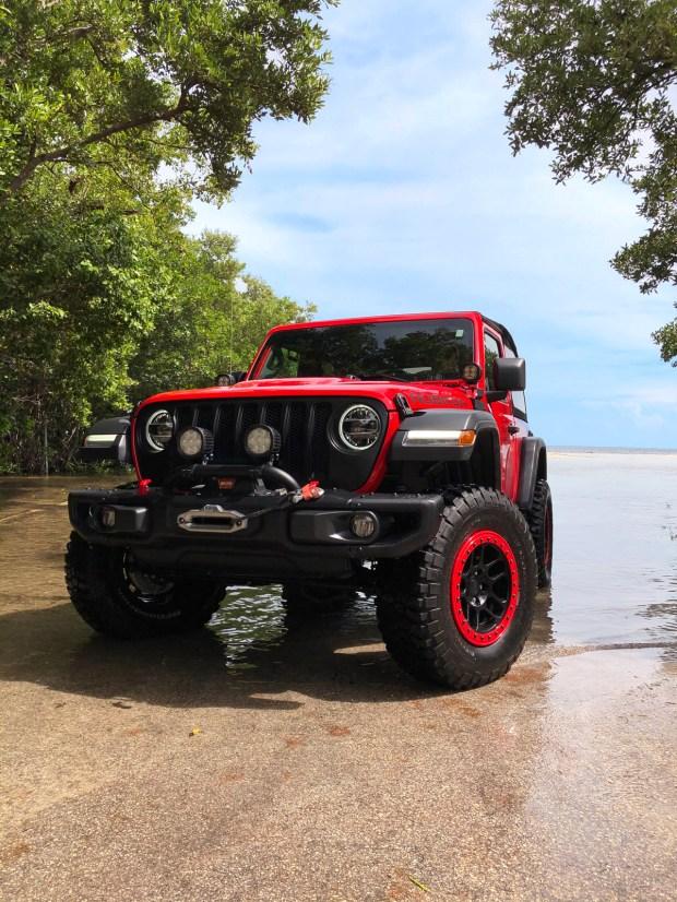 Jeep Wrangler Rubicon Exploring High Tide in Matheson Hammock Park in Coral Gables, Florida - Miami