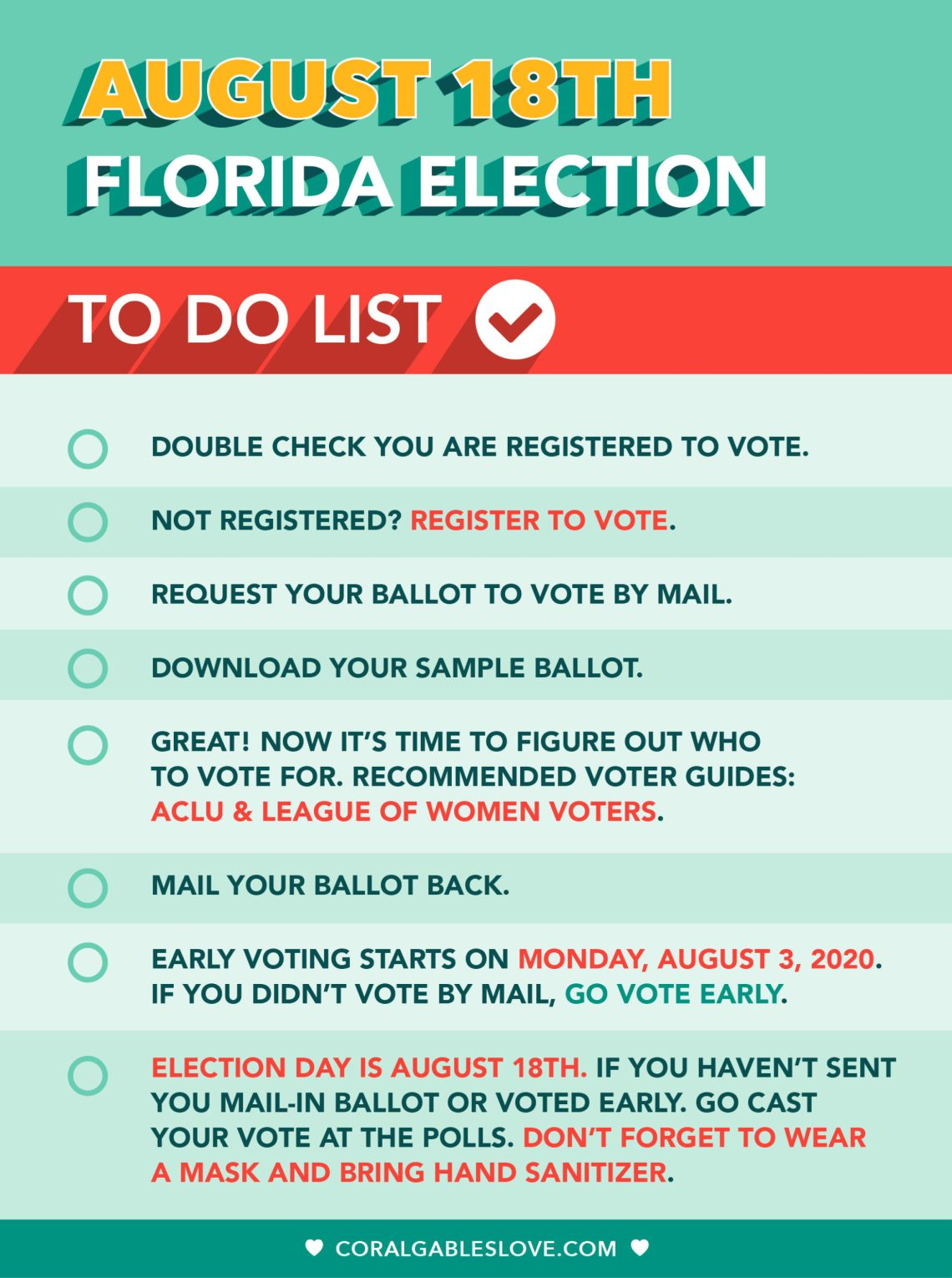 Florida August 2020 Primary Election To Do List For Those in Miami-Dade