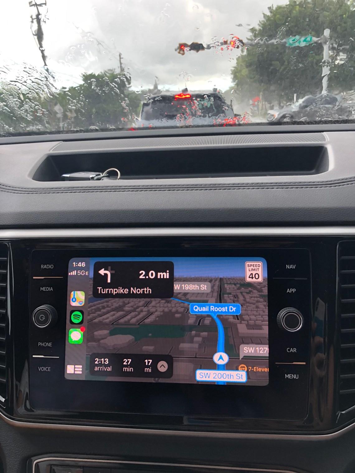 VW Atlas Apple Car Play Navigation Screen in the rain