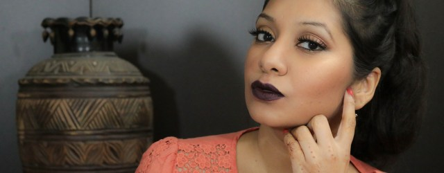 Black Currant Lips Golden Smokey Eyes Makeup Tutorial