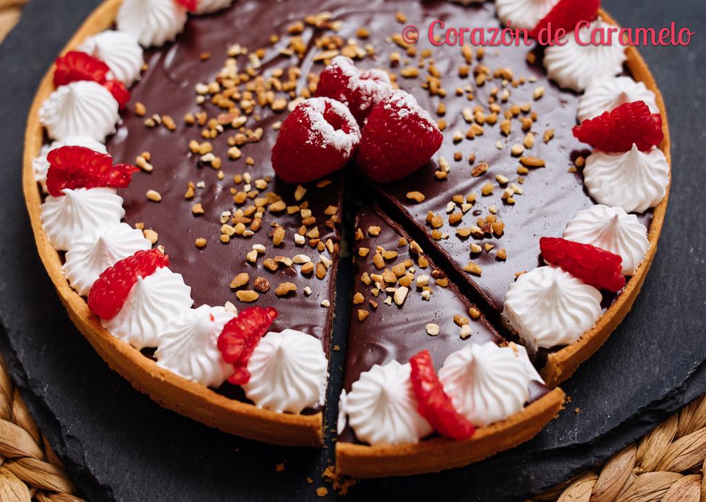Tartaleta de chocolate y frambuesas