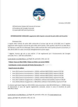 elena ciurnella fratelli d'italia imposta comunale imu partito democratico pd tari tasse politica