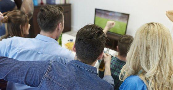 Fans of soccer watching match