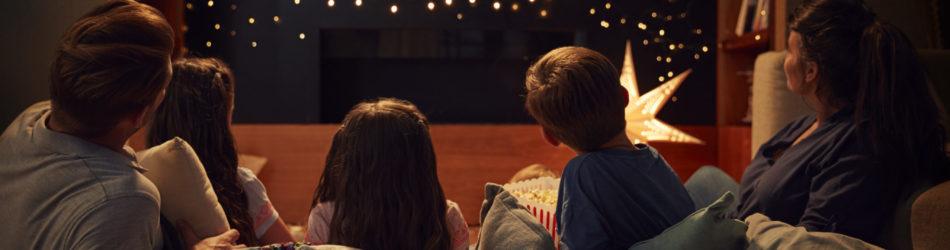 Family slumber party movie night