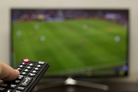 Remote and Soccer game on TV