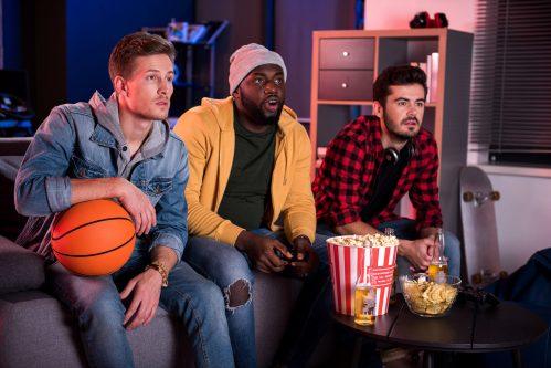 basketball fans watching tv